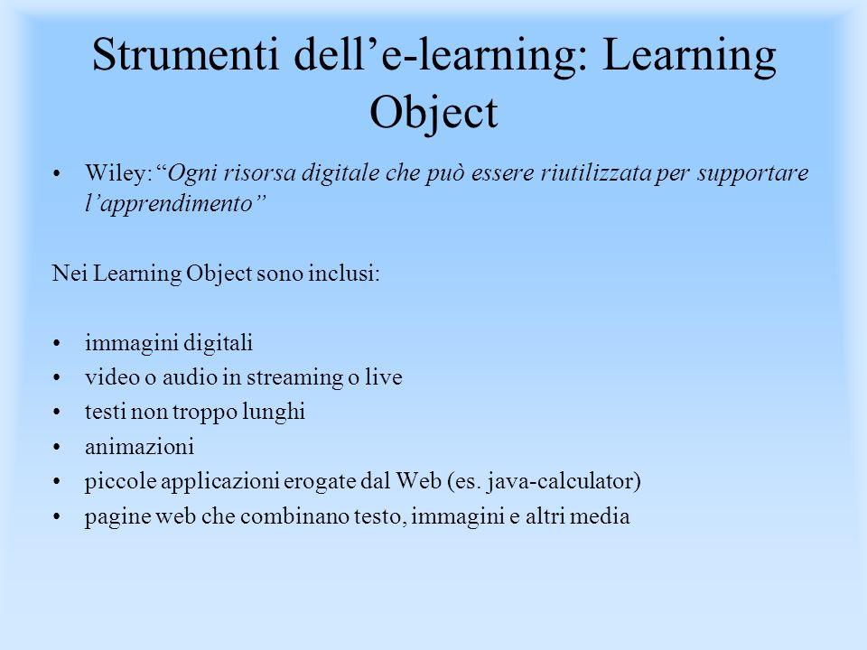 Strumenti delle-learning: Learning Object Wiley: Ogni risorsa digitale che può essere riutilizzata per supportare lapprendimento Nei Learning Object s