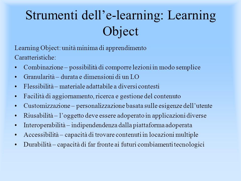 Strumenti delle-learning: Learning Object Learning Object: unità minima di apprendimento Caratteristiche: Combinazione – possibilità di comporre lezio