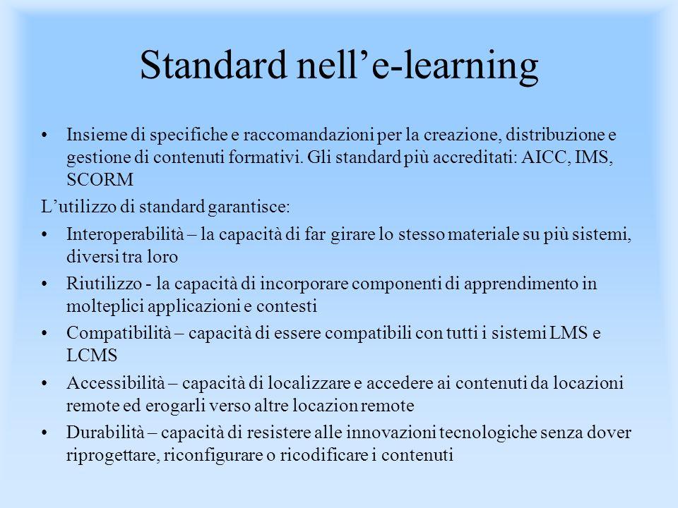 Standard nelle-learning Insieme di specifiche e raccomandazioni per la creazione, distribuzione e gestione di contenuti formativi. Gli standard più ac