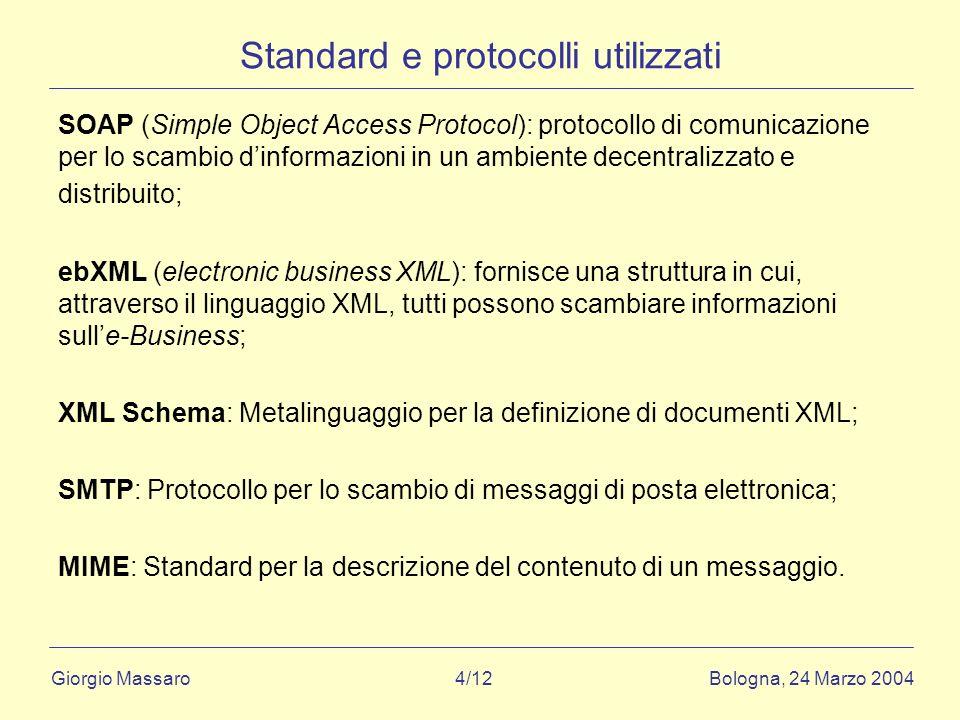 Giorgio Massaro Bologna, 24 Marzo 2004 4/12 Standard e protocolli utilizzati SOAP (Simple Object Access Protocol): protocollo di comunicazione per lo scambio dinformazioni in un ambiente decentralizzato e distribuito; ebXML (electronic business XML): fornisce una struttura in cui, attraverso il linguaggio XML, tutti possono scambiare informazioni sulle-Business; XML Schema: Metalinguaggio per la definizione di documenti XML; SMTP: Protocollo per lo scambio di messaggi di posta elettronica; MIME: Standard per la descrizione del contenuto di un messaggio.
