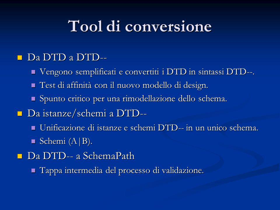 Tool di conversione Da DTD a DTD-- Da DTD a DTD-- Vengono semplificati e convertiti i DTD in sintassi DTD--. Vengono semplificati e convertiti i DTD i
