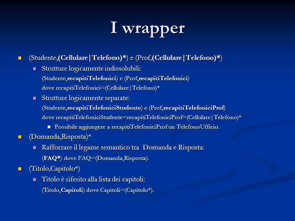 I wrapper (Studente,(Cellulare|Telefono)*) e (Prof,(Cellulare|Telefono)*) (Studente,(Cellulare|Telefono)*) e (Prof,(Cellulare|Telefono)*) Strutture lo
