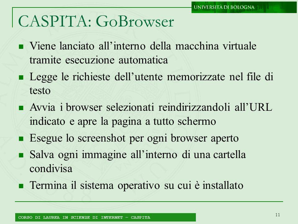 11 CORSO DI LAUREA IN SCIENZE DI INTERNET – CASPITA CASPITA: GoBrowser Viene lanciato allinterno della macchina virtuale tramite esecuzione automatica