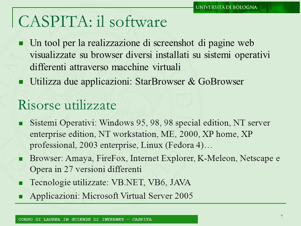 7 CASPITA: il software Un tool per la realizzazione di screenshot di pagine web visualizzate su browser diversi installati su sistemi operativi differ