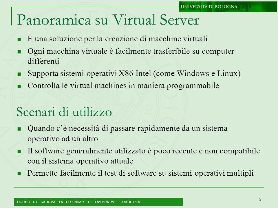 8 Panoramica su Virtual Server È una soluzione per la creazione di macchine virtuali Ogni macchina virtuale è facilmente trasferibile su computer diff