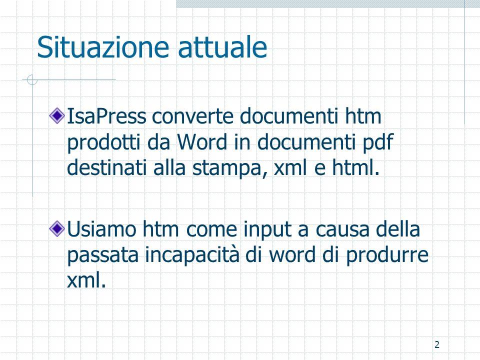 2 Situazione attuale IsaPress converte documenti htm prodotti da Word in documenti pdf destinati alla stampa, xml e html. Usiamo htm come input a caus