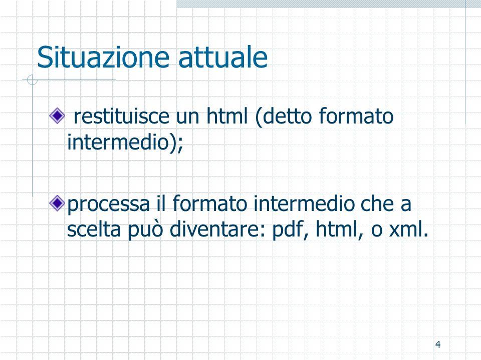 4 Situazione attuale restituisce un html (detto formato intermedio); processa il formato intermedio che a scelta può diventare: pdf, html, o xml.