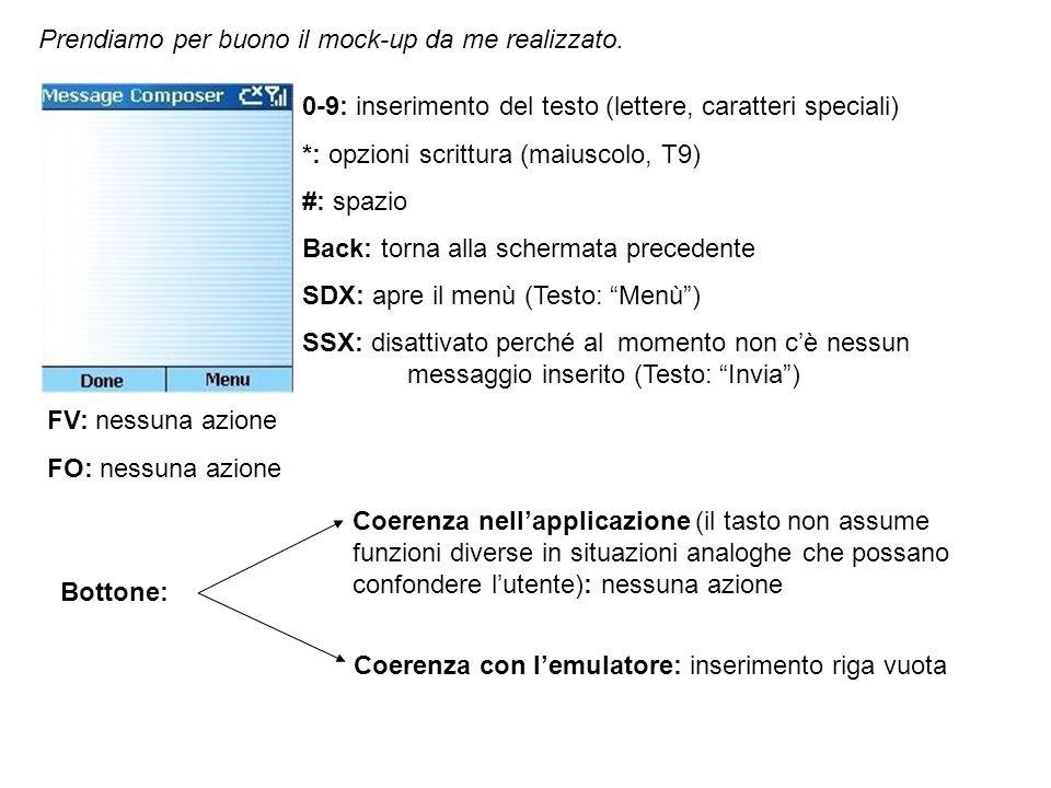 0-9: inserimento del testo (lettere, caratteri speciali) *: opzioni scrittura (maiuscolo, T9) #: spazio Back: cancella lultimo carattere SDX: apre il menù (Testo: Menù) SSX: invio messaggio (Testo: Invia) invia il messaggio finora composto FV: scorrimento verticale del testo (il cursore si sposta tra le righe) FO: scorrimento orizzontale del testo (il cursore si sposta tra le colonne) Bottone: Coerenza nellapplicazione (il tasto non assume funzioni diverse in situazioni analoghe che possano confondere lutente): nessuna azione Coerenza con lemulatore: inserimento riga vuota