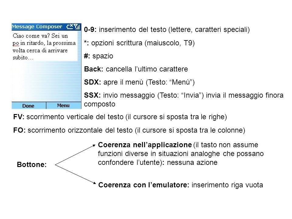 0-9: inserimento del testo (lettere, caratteri speciali) *: opzioni scrittura (maiuscolo, T9) #: spazio Back: cancella lultimo carattere SDX: apre il menù (Testo: Menù) SSX: invio messaggio (Testo: Invia) invia il messaggio finora composto FV: scorrimento verticale del testo (il cursore si sposta tra le righe) FO: scorrimento orizzontale del testo (il cursore si sposta tra le colonne) Bottone: attiva la modalità di suggerimento indicata dal led rosso