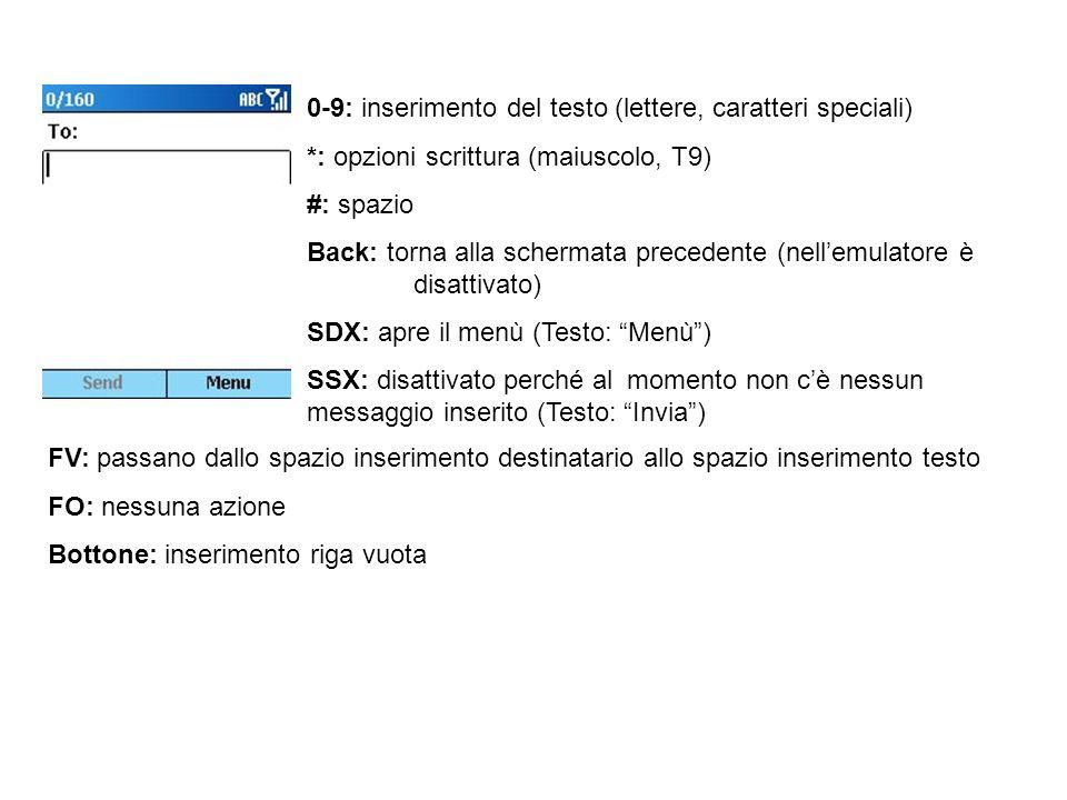 0-9: inserimento del testo (lettere, caratteri speciali) *: opzioni scrittura (maiuscolo, T9) #: spazio Back: torna alla schermata precedente (nellemulatore è disattivato) SDX: apre il menù (Testo: Menù) SSX: invio messaggio (Testo: Invia) FV: passano dallo spazio inserimento destinatario allo spazio inserimento testo e tra le righe del testo FO: scorrimento orizzontale del testo (il cursore si sposta tra le colonne) Bottone: inserimento riga vuota