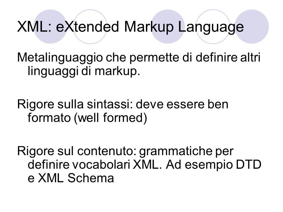 XML: eXtended Markup Language Metalinguaggio che permette di definire altri linguaggi di markup.