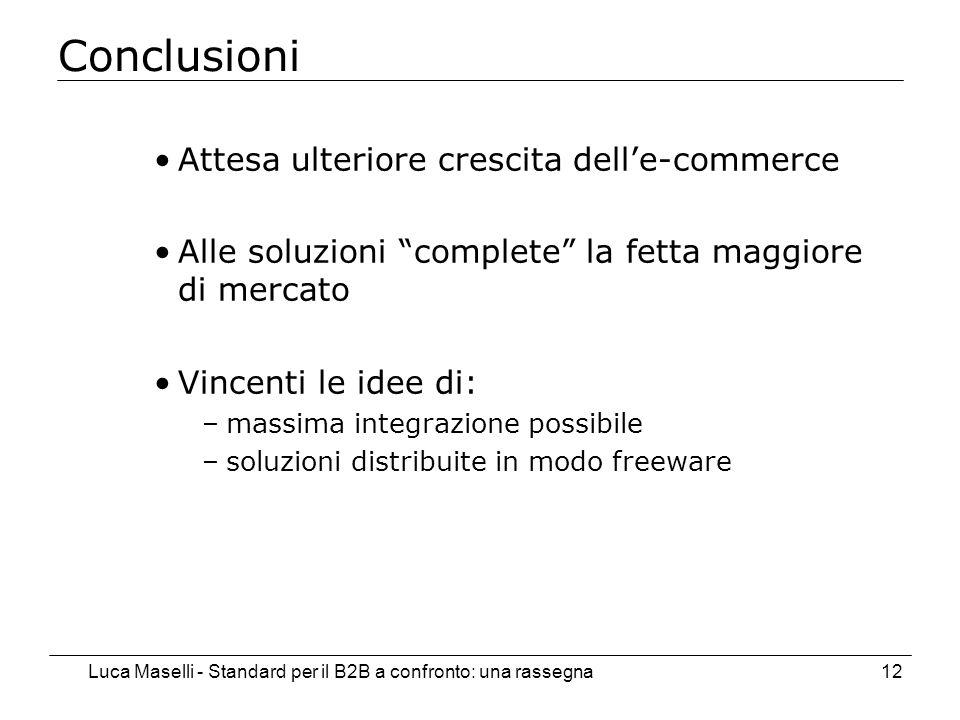 Luca Maselli - Standard per il B2B a confronto: una rassegna12 Conclusioni Attesa ulteriore crescita delle-commerce Alle soluzioni complete la fetta maggiore di mercato Vincenti le idee di: –massima integrazione possibile –soluzioni distribuite in modo freeware