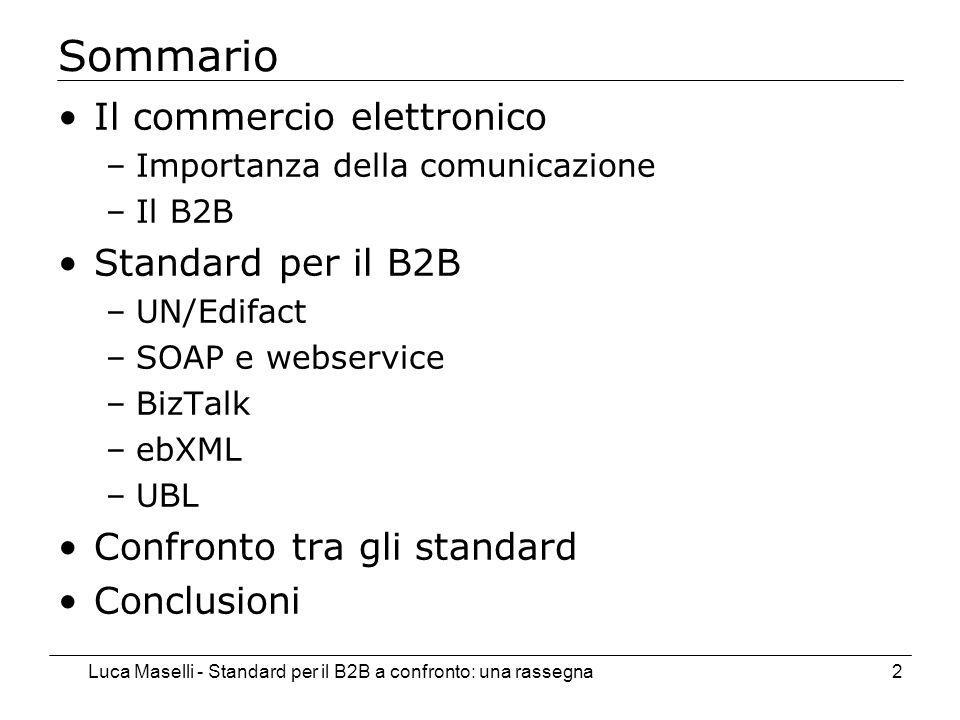 Luca Maselli - Standard per il B2B a confronto: una rassegna2 Sommario Il commercio elettronico –Importanza della comunicazione –Il B2B Standard per il B2B –UN/Edifact –SOAP e webservice –BizTalk –ebXML –UBL Confronto tra gli standard Conclusioni