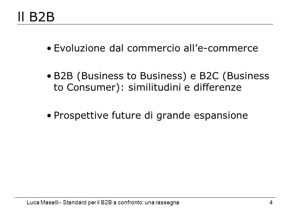 Luca Maselli - Standard per il B2B a confronto: una rassegna4 ll B2B Evoluzione dal commercio alle-commerce B2B (Business to Business) e B2C (Business to Consumer): similitudini e differenze Prospettive future di grande espansione