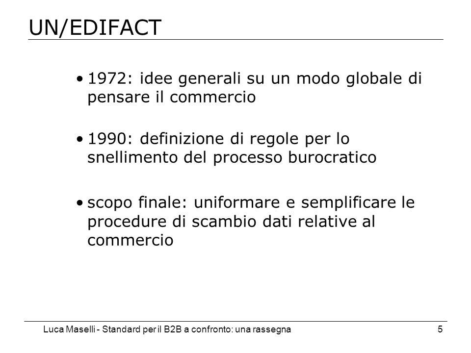 Luca Maselli - Standard per il B2B a confronto: una rassegna5 UN/EDIFACT 1972: idee generali su un modo globale di pensare il commercio 1990: definizione di regole per lo snellimento del processo burocratico scopo finale: uniformare e semplificare le procedure di scambio dati relative al commercio