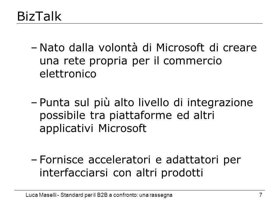 Luca Maselli - Standard per il B2B a confronto: una rassegna7 BizTalk –Nato dalla volontà di Microsoft di creare una rete propria per il commercio ele