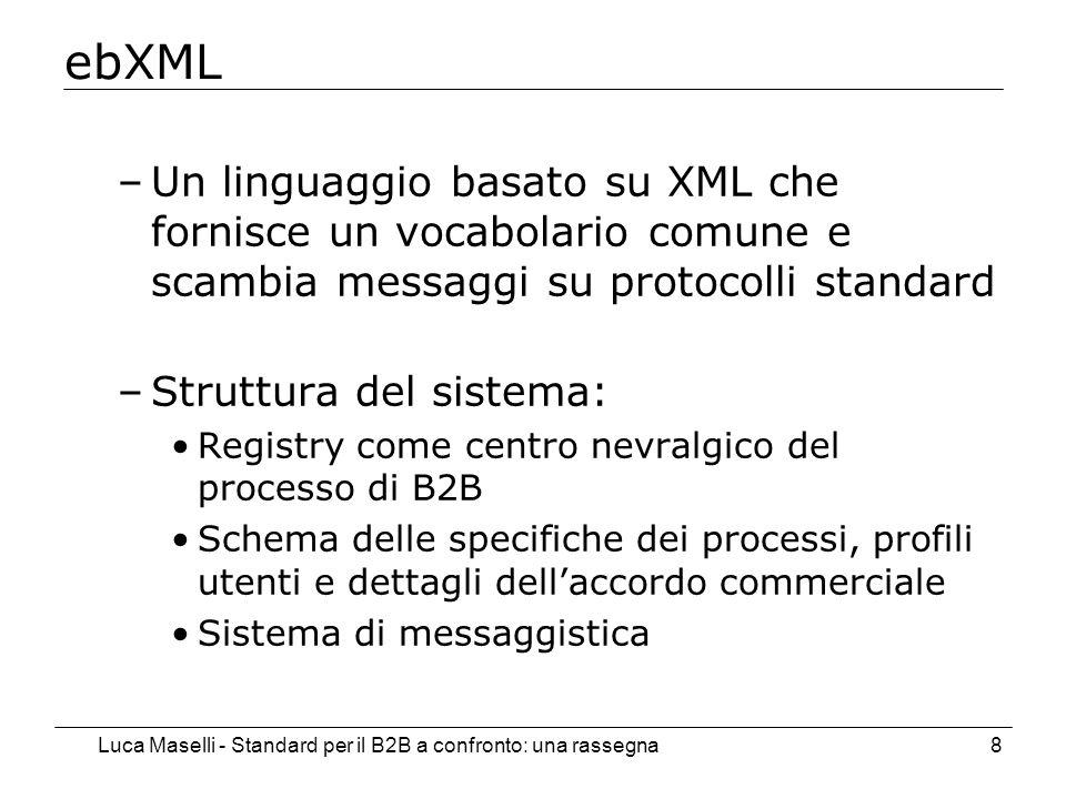 Luca Maselli - Standard per il B2B a confronto: una rassegna8 ebXML –Un linguaggio basato su XML che fornisce un vocabolario comune e scambia messaggi su protocolli standard –Struttura del sistema: Registry come centro nevralgico del processo di B2B Schema delle specifiche dei processi, profili utenti e dettagli dellaccordo commerciale Sistema di messaggistica