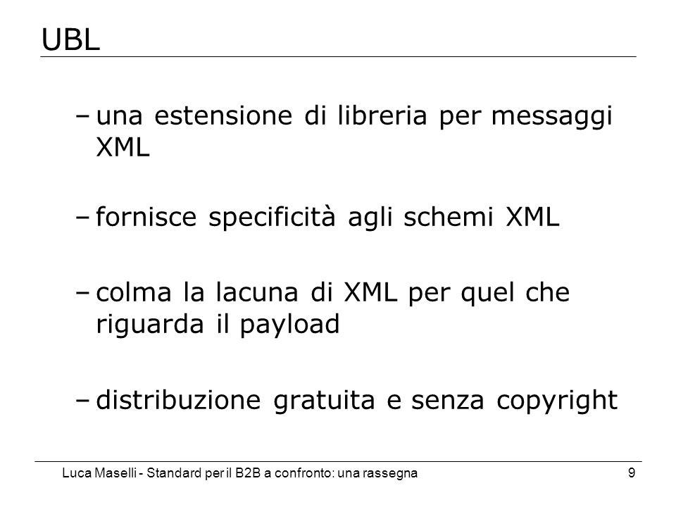 Luca Maselli - Standard per il B2B a confronto: una rassegna9 UBL –una estensione di libreria per messaggi XML –fornisce specificità agli schemi XML –colma la lacuna di XML per quel che riguarda il payload –distribuzione gratuita e senza copyright