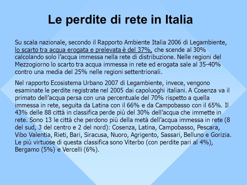 Su scala nazionale, secondo il Rapporto Ambiente Italia 2006 di Legambiente, lo scarto tra acqua erogata e prelevata è del 37%, che scende al 30% calc