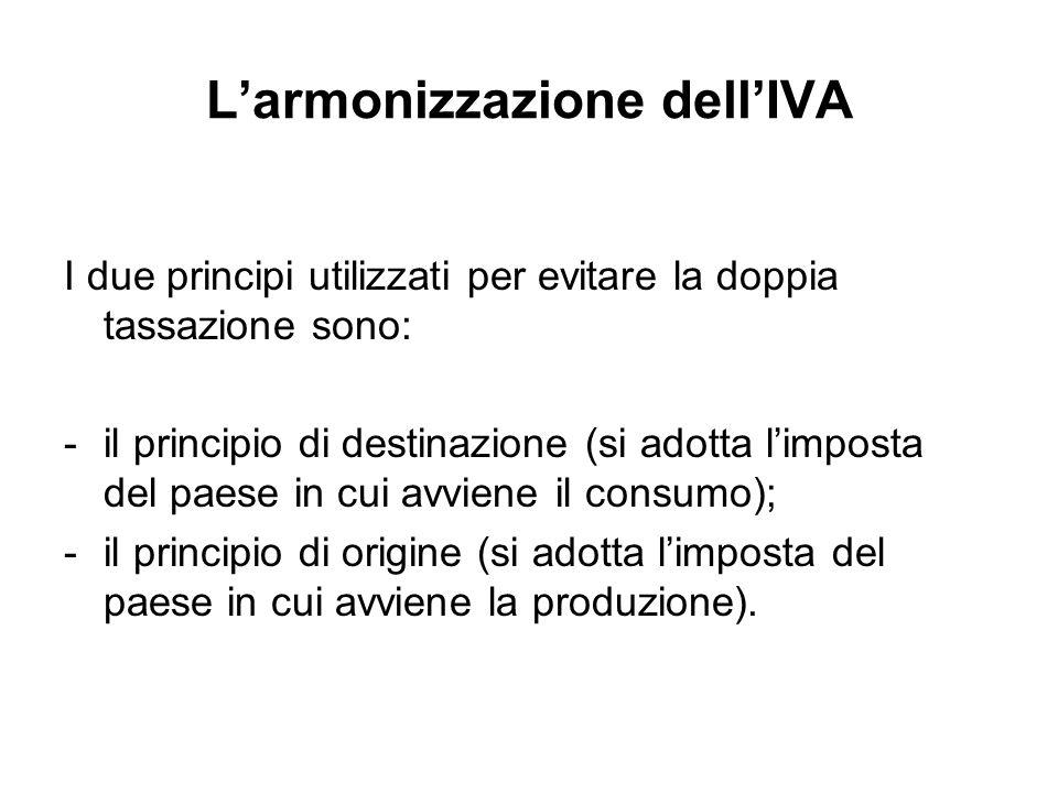 Larmonizzazione dellIVA I due principi utilizzati per evitare la doppia tassazione sono: -il principio di destinazione (si adotta limposta del paese in cui avviene il consumo); -il principio di origine (si adotta limposta del paese in cui avviene la produzione).