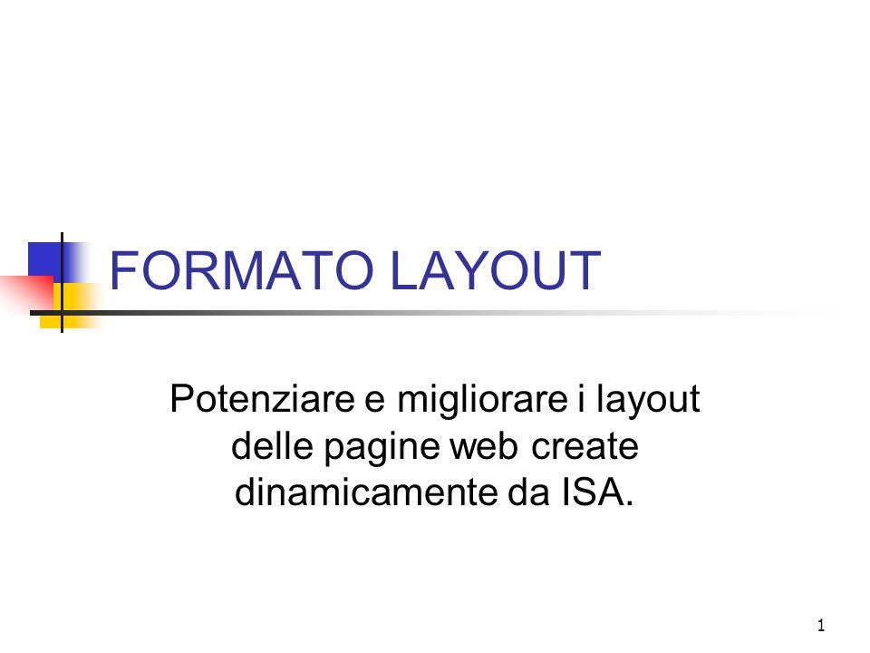 1 FORMATO LAYOUT Potenziare e migliorare i layout delle pagine web create dinamicamente da ISA.