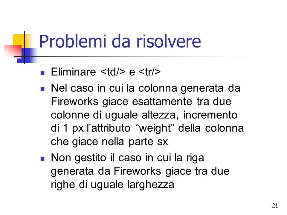 21 Problemi da risolvere Eliminare e Nel caso in cui la colonna generata da Fireworks giace esattamente tra due colonne di uguale altezza, incremento di 1 px lattributo weight della colonna che giace nella parte sx Non gestito il caso in cui la riga generata da Fireworks giace tra due righe di uguale larghezza