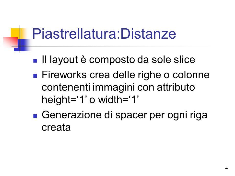 4 Piastrellatura:Distanze Il layout è composto da sole slice Fireworks crea delle righe o colonne contenenti immagini con attributo height=1 o width=1 Generazione di spacer per ogni riga creata