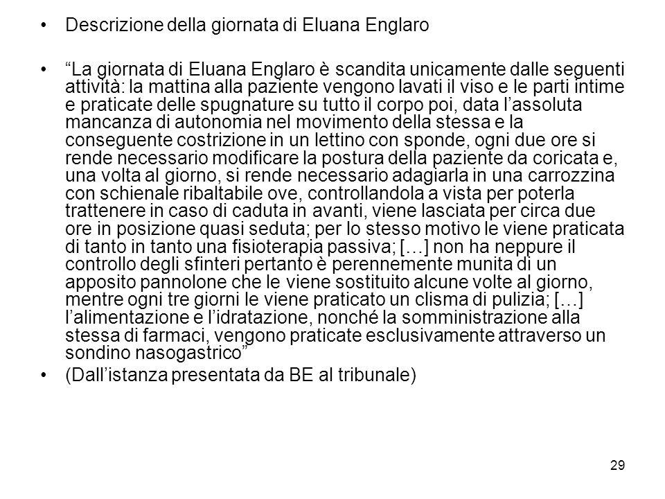29 Descrizione della giornata di Eluana Englaro La giornata di Eluana Englaro è scandita unicamente dalle seguenti attività: la mattina alla paziente