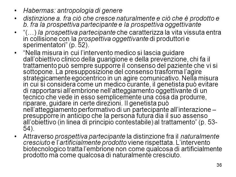 36 Habermas: antropologia di genere distinzione a. fra ciò che cresce naturalmente e ciò che è prodotto e b. fra la prospettiva partecipante e la pros