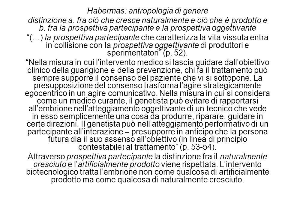 Habermas: antropologia di genere distinzione a. fra ciò che cresce naturalmente e ciò che è prodotto e b. fra la prospettiva partecipante e la prospet