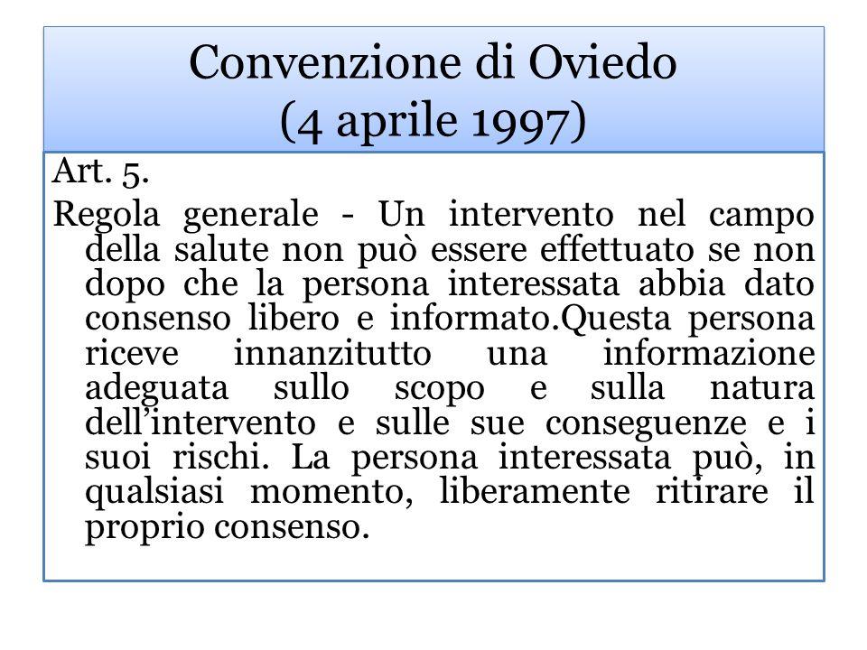 Convenzione di Oviedo (4 aprile 1997) Art.