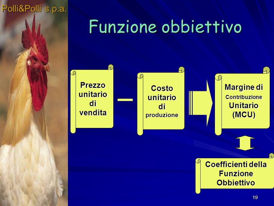 19 Funzione obbiettivo Polli&Polli s.p.a. Prezzo unitario di vendita Costo unitario di produzione Margine di Contribuzione Unitario (MCU) Coefficienti