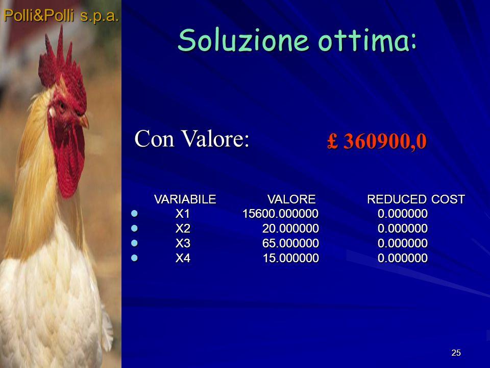 25 Soluzione ottima: Polli&Polli s.p.a. £ 360900,0 VARIABILE VALORE REDUCED COST VARIABILE VALORE REDUCED COST X1 15600.000000 0.000000 X1 15600.00000