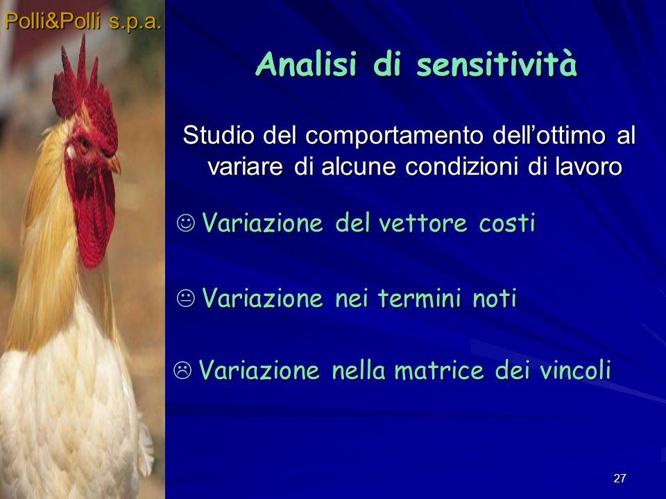 27 Studio del comportamento dellottimo al variare di alcune condizioni di lavoro Polli&Polli s.p.a. Analisi di sensitività Analisi di sensitività Vari