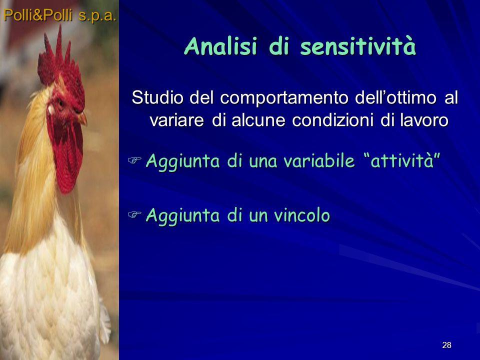 28 Studio del comportamento dellottimo al variare di alcune condizioni di lavoro Polli&Polli s.p.a. Analisi di sensitività Analisi di sensitività Aggi