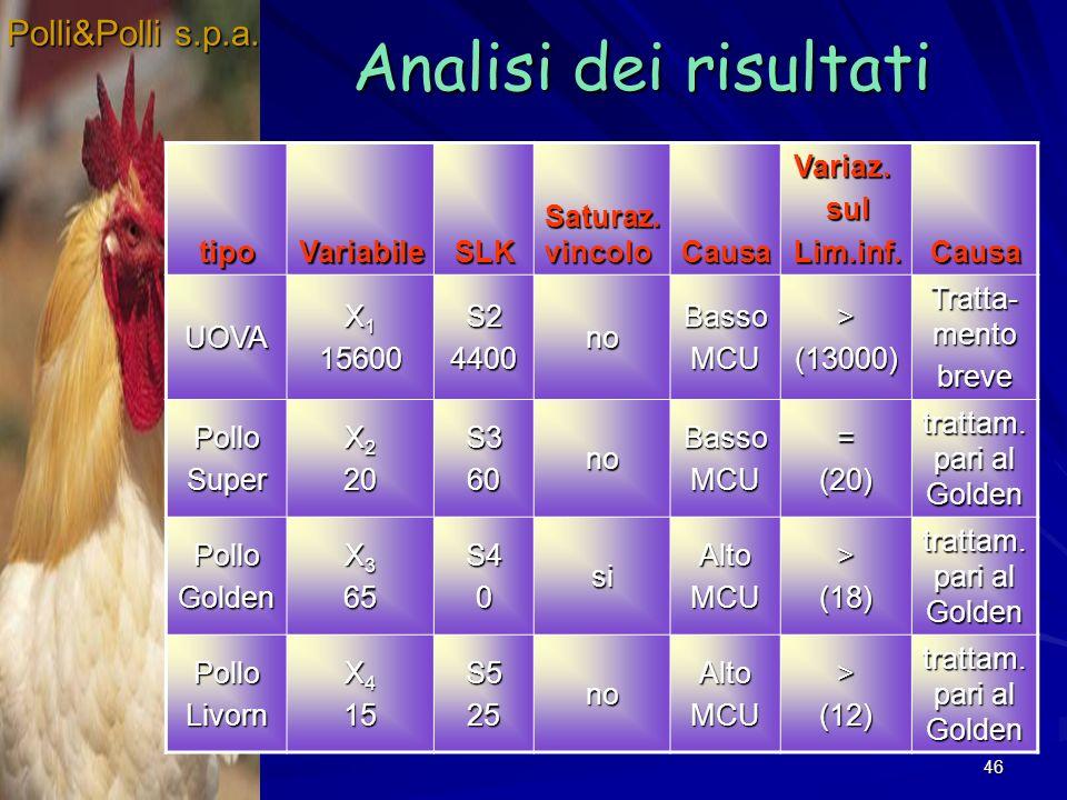 46 Analisi dei risultati Polli&Polli s.p.a. tipoVariabileSLK Saturaz. vincolo CausaVariaz.sulLim.inf.CausaUOVA X 1 15600S24400noBassoMCU>(13000) Tratt