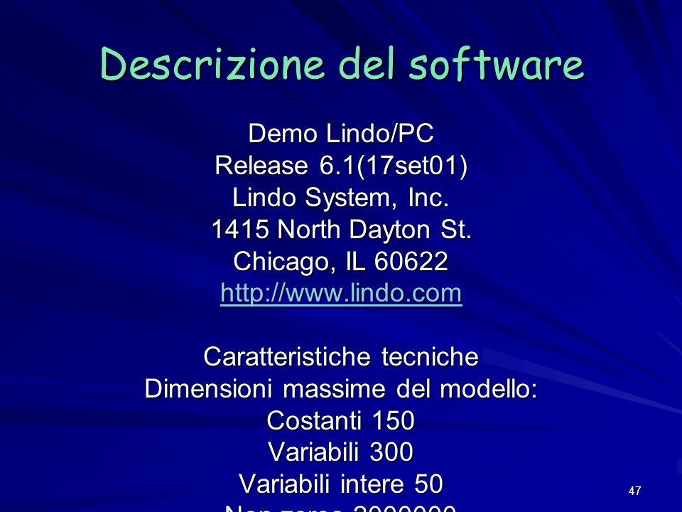 47 Demo Lindo/PC Release 6.1(17set01) Lindo System, Inc. 1415 North Dayton St. Chicago, IL 60622 http://www.lindo.com Caratteristiche tecniche Dimensi