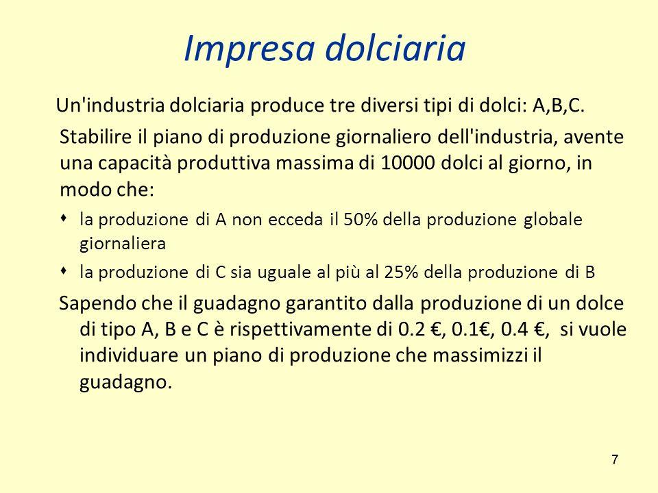 77 Un'industria dolciaria produce tre diversi tipi di dolci: A,B,C. Stabilire il piano di produzione giornaliero dell'industria, avente una capacità p