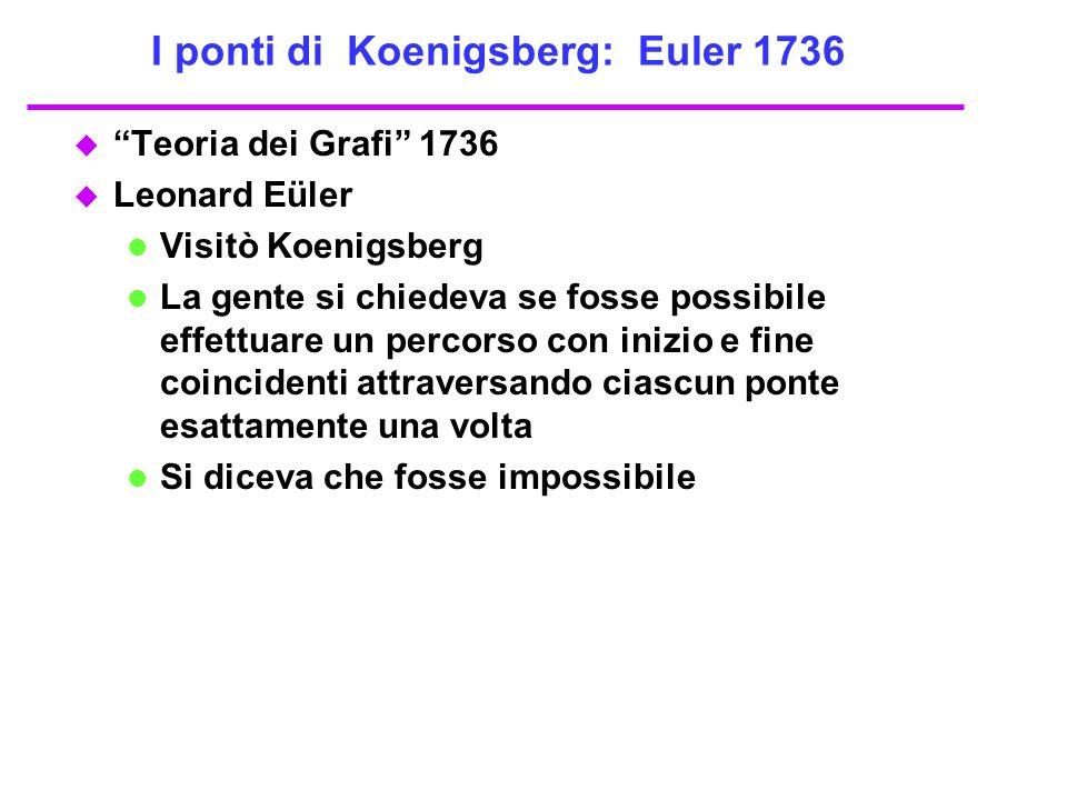 I ponti di Koenigsberg: Euler 1736 u Teoria dei Grafi 1736 u Leonard Eüler Visitò Koenigsberg La gente si chiedeva se fosse possibile effettuare un pe