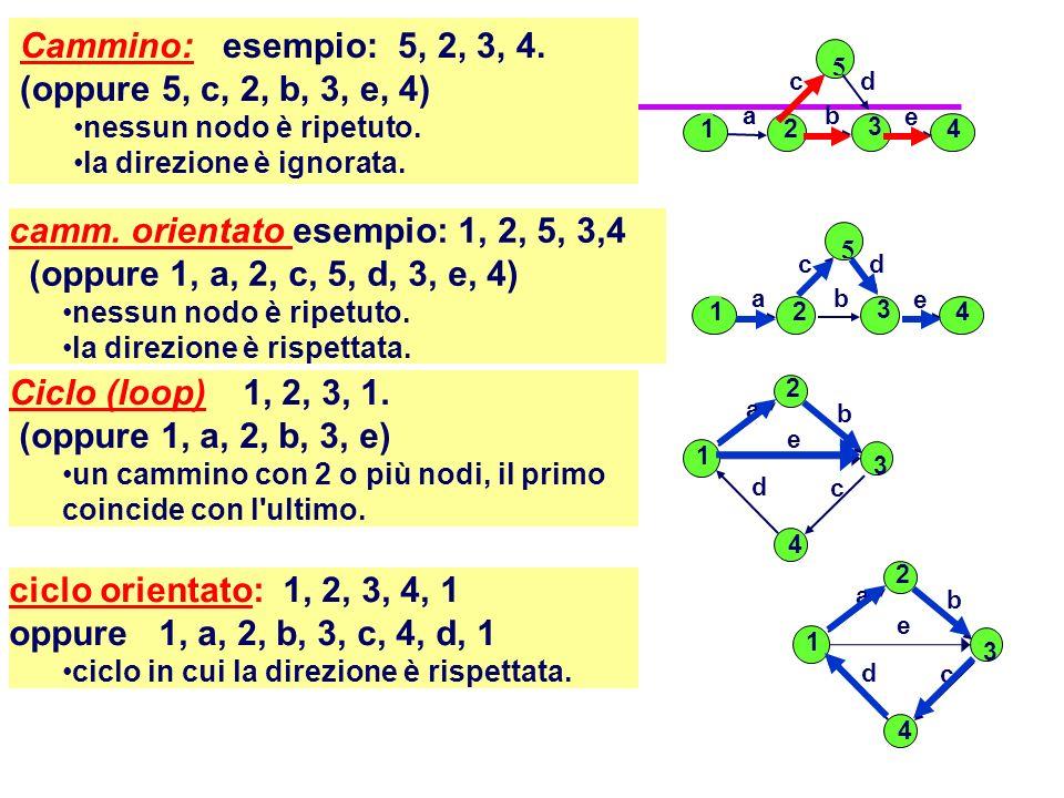 camm. orientato esempio: 1, 2, 5, 3,4 (oppure 1, a, 2, c, 5, d, 3, e, 4) nessun nodo è ripetuto. la direzione è rispettata. Ciclo (loop) 1, 2, 3, 1. (