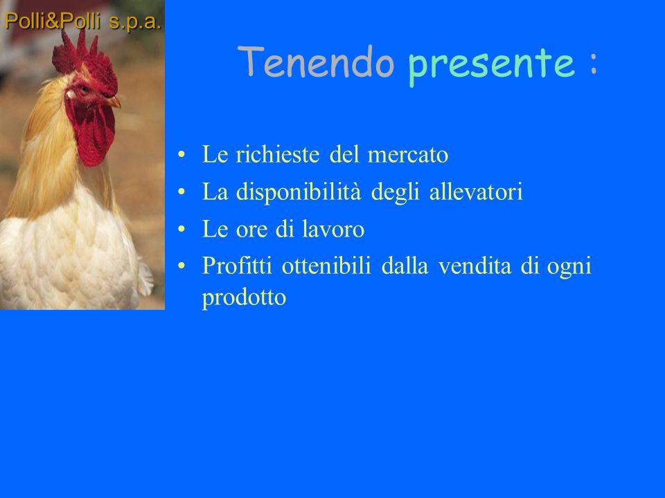 Campagna ottima di produzione settimanale Quante uova Quali tipi di polli Quanti per ogni tipo Polli&Polli s.p.a.
