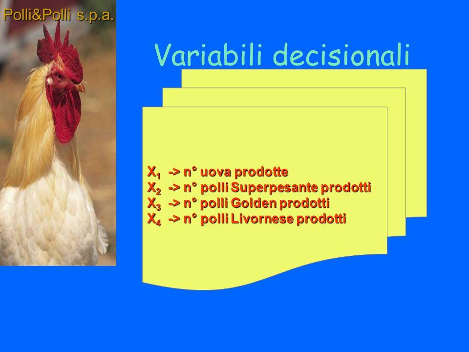 Quale la produzione settimanale dellazienda avicola che rende massimo il Polli&Polli s.p.a.