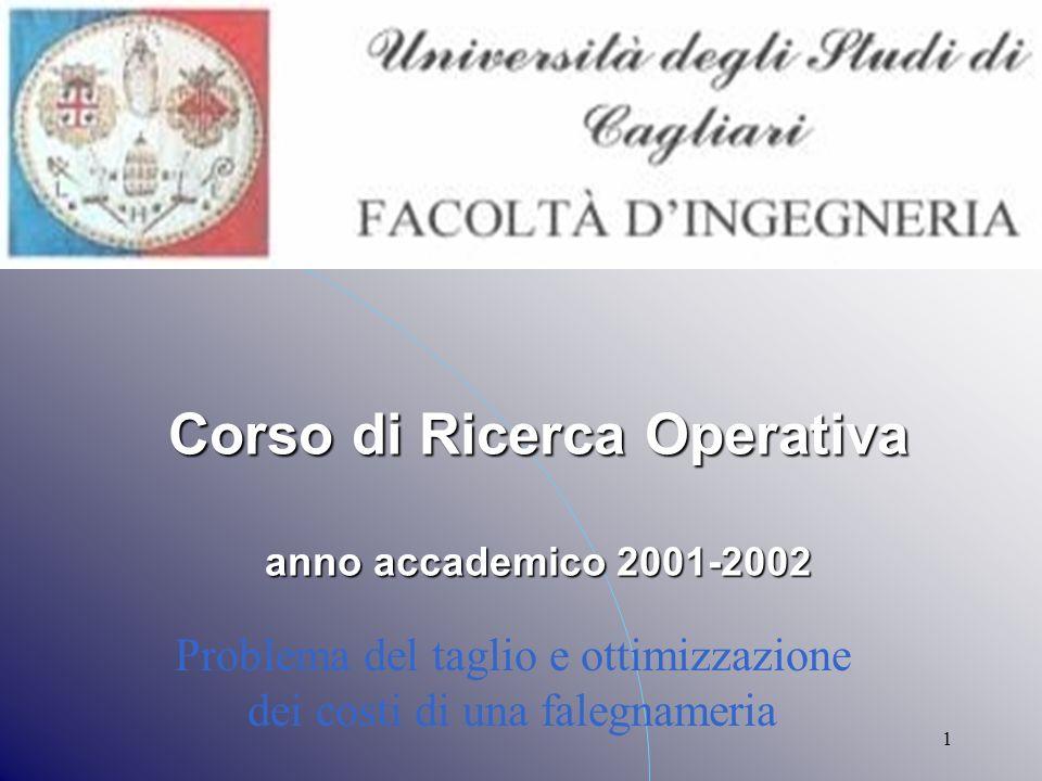 1 Problema del taglio e ottimizzazione dei costi di una falegnameria Corso di Ricerca Operativa anno accademico 2001-2002