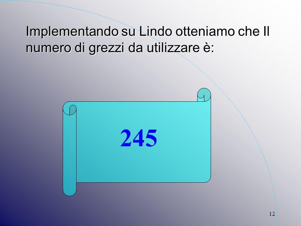 12 Implementando su Lindo otteniamo che Il numero di grezzi da utilizzare è: 245