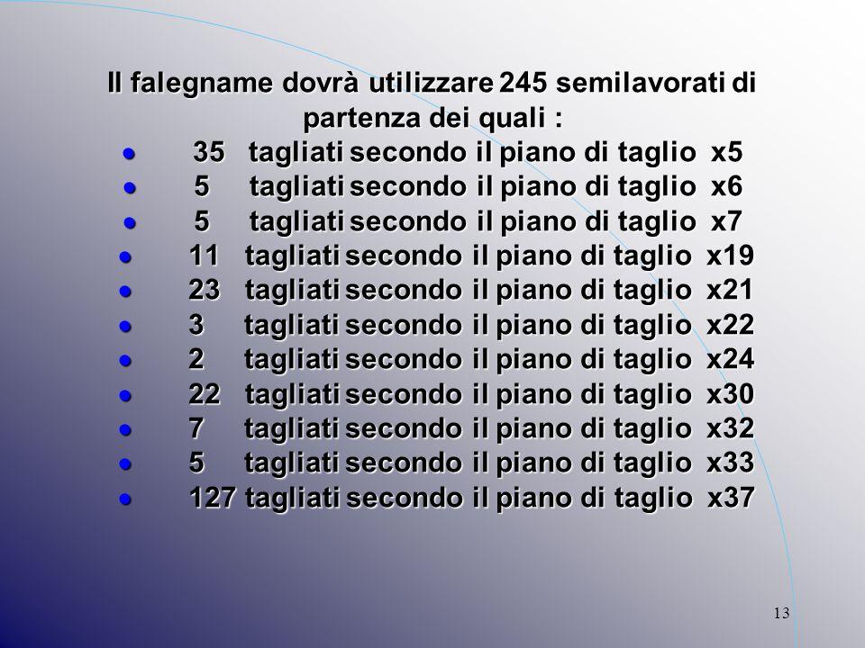 13 Il falegname dovrà utilizzare 245 semilavorati di partenza dei quali : 35 tagliati secondo il piano di taglio x5 5 tagliati secondo il piano di tag