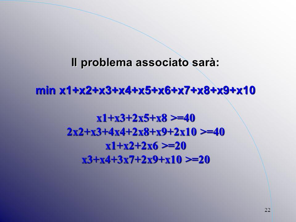 22 Il problema associato sarà: min x1+x2+x3+x4+x5+x6+x7+x8+x9+x10 x1+x3+2x5+x8 >=40 2x2+x3+4x4+2x8+x9+2x10 >=40 x1+x2+2x6 >=20 x3+x4+3x7+2x9+x10 >=20
