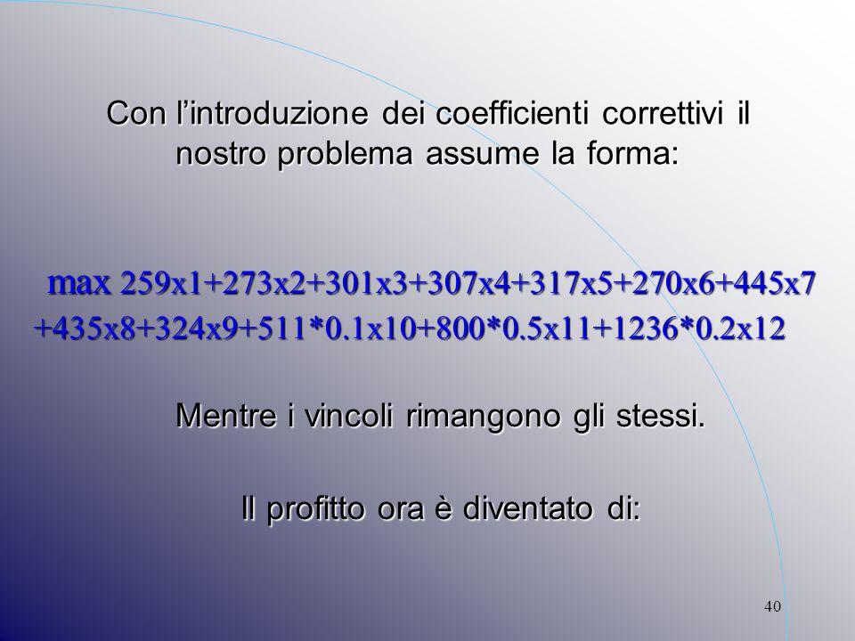 40 Con lintroduzione dei coefficienti correttivi il nostro problema assume la forma: max 259x1+273x2+301x3+307x4+317x5+270x6+445x7 max 259x1+273x2+301