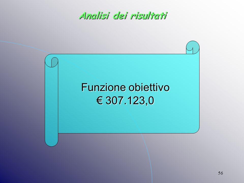 56 Analisi dei risultati Funzione obiettivo 307.123,0 307.123,0