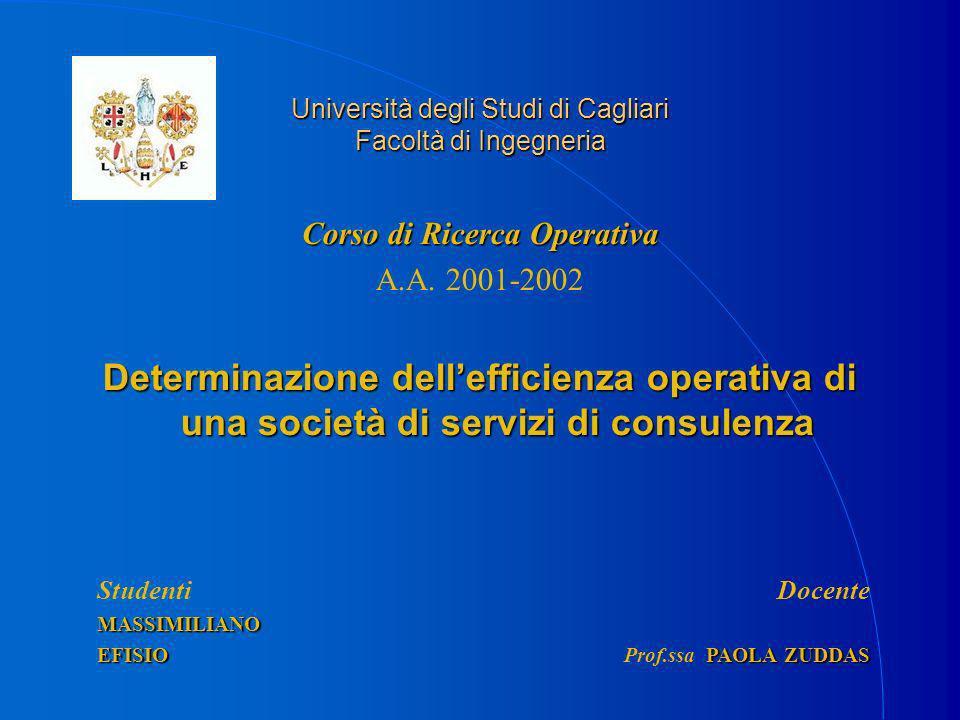 Università degli Studi di Cagliari Facoltà di Ingegneria Corso di Ricerca Operativa A.A.