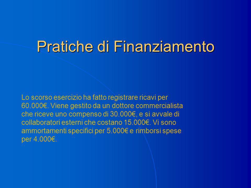 Pratiche di Finanziamento Lo scorso esercizio ha fatto registrare ricavi per 60.000.